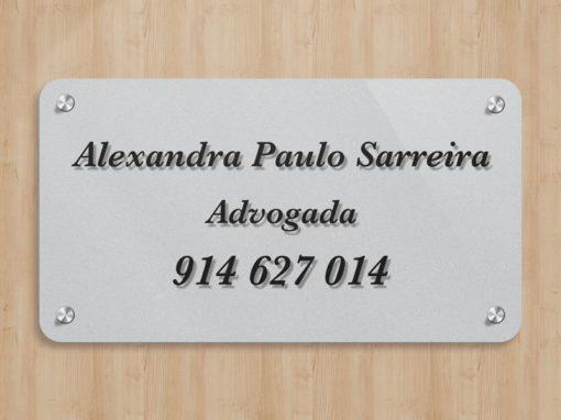 Alexandra Sarreira Advogada placa acrílico