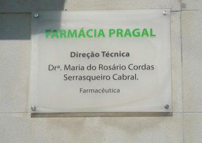 Farmácia Pragal placa de acrílico