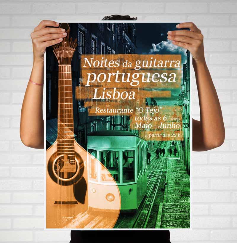 Impressão em papel Noites da guitarra portuguesa cartaz