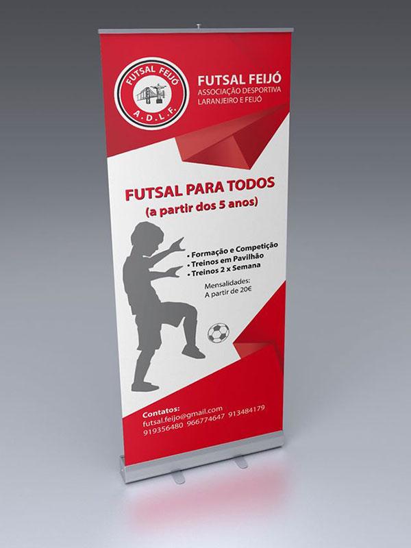 Roll up expositor publicitário para Futsal Feijó