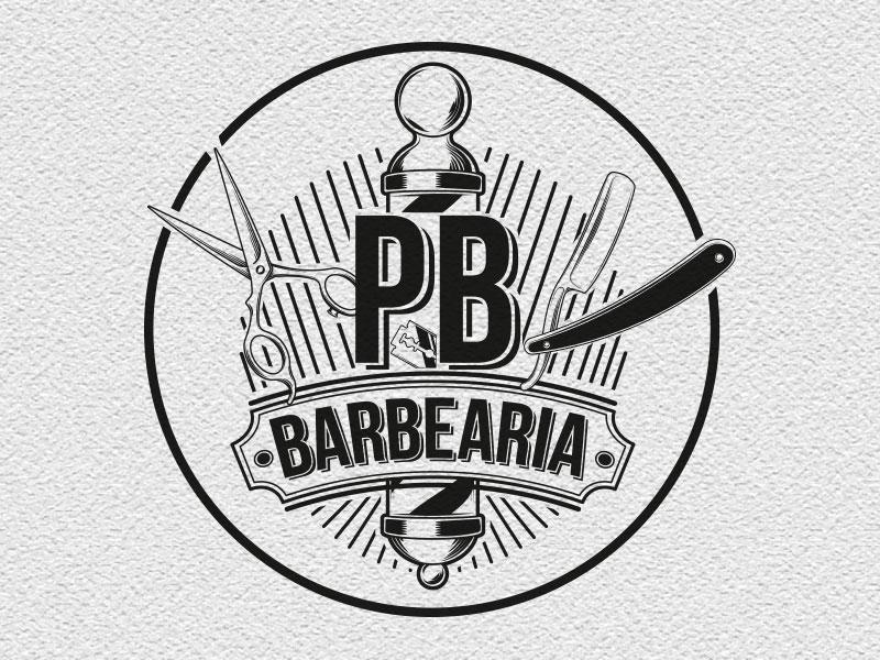 PB Barbearia criação de logotipo
